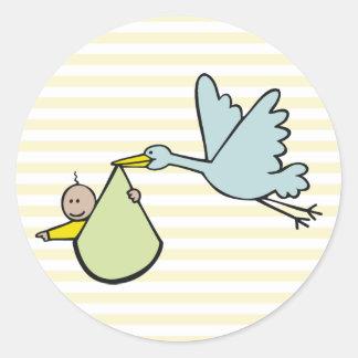 Nieuw Baby en Vliegende Ooievaar Ronde Sticker