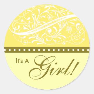 Nieuw Baby   Gele Aankondiging van de Geboorte   Ronde Sticker