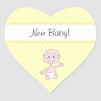 Nieuw Baby! Het leuke baby golven. Op Gele strepen Hartvormige Stickers