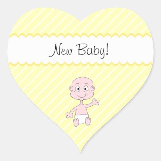 Nieuw Baby! Het leuke baby golven. Op Gele strepen Hart Sticker