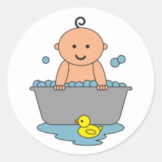 Nieuw Baby in Badkuip Ronde Stickers