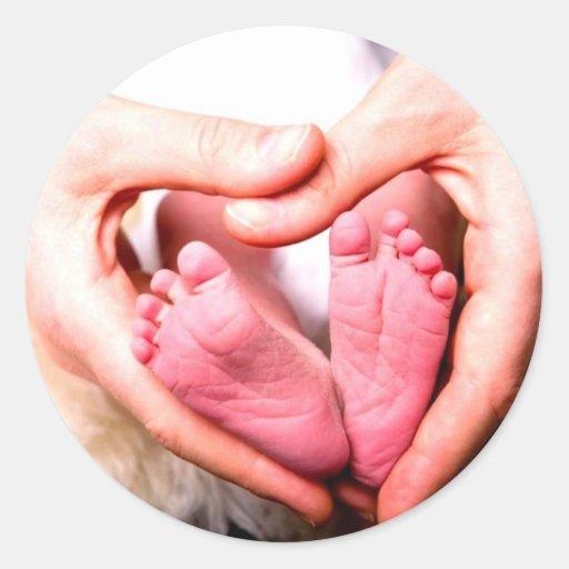 Nieuw - geboren baby geboren aankondiging door ronde sticker