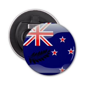 Nieuw Zeeland opgepoetste vlag Button Flesopener
