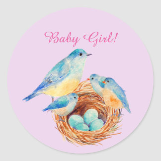 Nieuwe Familie van de Vogel van de waterverf de Ronde Sticker