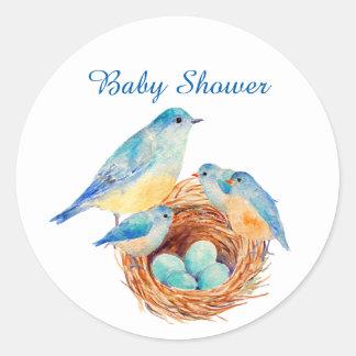 Nieuwe Familie van de Vogel van de waterverf de Ronde Stickers