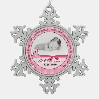 Nieuwe Grootouders van het Meisje Monogoram A van Tin Sneeuwvlok Ornament