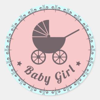 Nieuwe het Meisje van het baby - het geboren Bruin Ronde Stickers