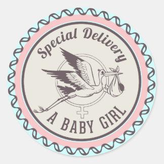 Nieuwe het Meisje van het Baby van de Ronde Sticker