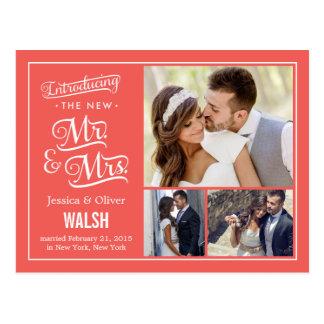 Nieuwe M. en Mevr. Wedding Announcement - Koraal Briefkaart