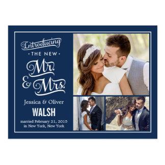 Nieuwe M. en Mevr. Wedding Marineblauw Briefkaart