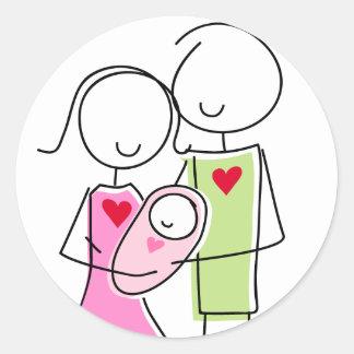 Nieuwe Ouders met het Meisje van het Baby - Ronde Ronde Sticker
