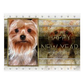 Nieuwjaar - Gouden Elegantie - Yorkshire Terrier Briefkaart