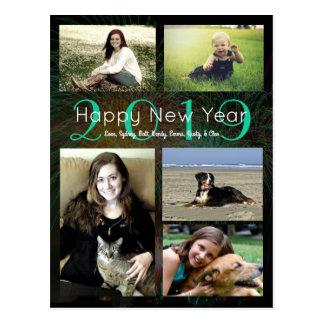 Nieuwjaar van het Neon van de Collage van de foto Briefkaart