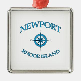 Nieuwpoort Rhode Island Zeevaart Zilverkleurig Vierkant Ornament