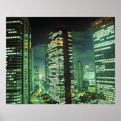 Nightscape, Shinjuku, Tokyo, Japan Afdruk