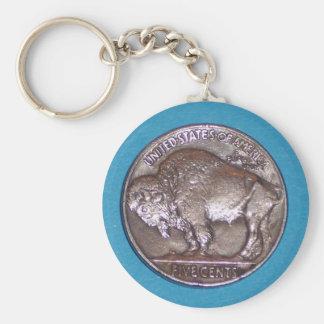 Nikkel 2 van buffels basic ronde button sleutelhanger