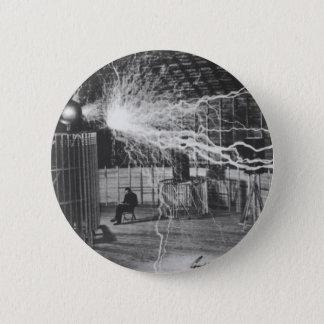 Nikola Tesla bij zijn Laboratorium van Colorado Ronde Button 5,7 Cm