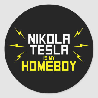 Nikola Tesla is Mijn Homeboy Ronde Sticker