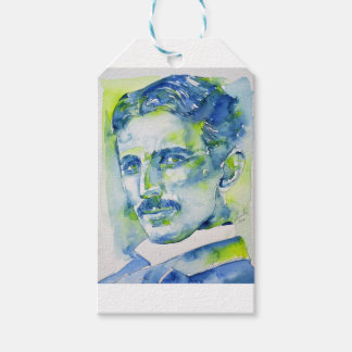 nikola tesla - waterverf portrait.1 cadeaulabel