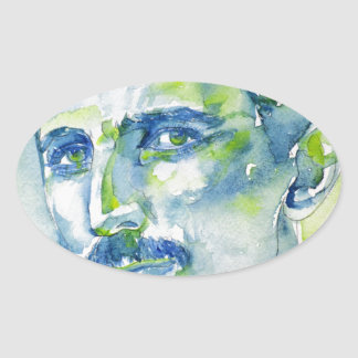 nikola tesla - waterverf portrait.1 ovale sticker