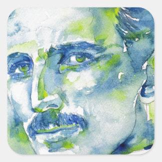 nikola tesla - waterverf portrait.1 vierkante sticker