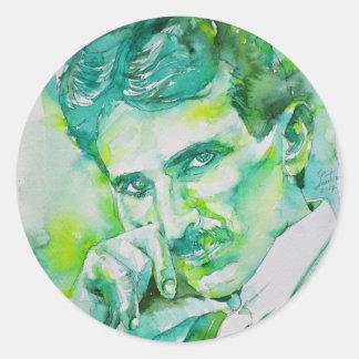 nikola tesla - waterverf portrait.2 ronde sticker