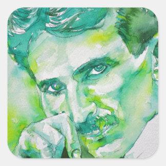 nikola tesla - waterverf portrait.2 vierkante sticker