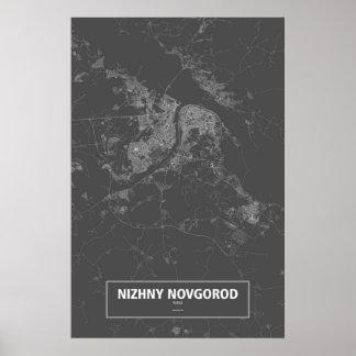 Nizhny Novgorod, wit Rusland (op zwarte) Poster