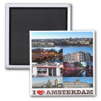 NL - Nederland Oland - liefde-Collage Amsterdam-I Vierkante Magneet
