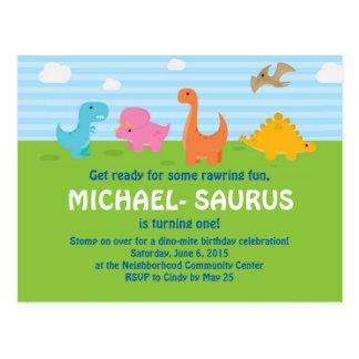 Nodigt de 1st Verjaardag van de dinosaurus uit Briefkaart