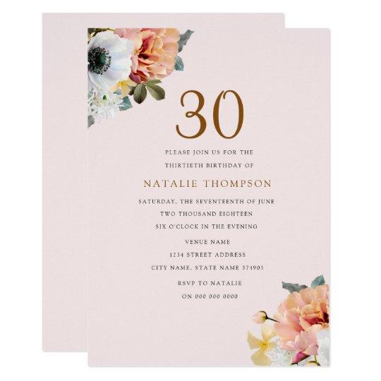 Nodigt de Bloemen 30ste Verjaardag van de vintage 12,7x17,8 Uitnodiging Kaart