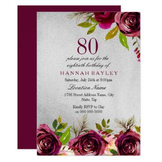 Nodigt de Bloemen Zilveren 80ste Verjaardag van Kaart