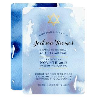 Nodigt de gouden modieuze blauwe waterverf van de 12,7x17,8 uitnodiging kaart