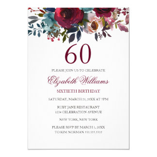 Nodigt de Rode Bloemen 60ste Verjaardag van Kaart