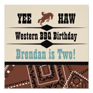 Nodigt de Westerne Verjaardag van de Cowboy van de Kaart