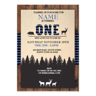 Nodigt Eerste Verjaardag ÉÉN van de houthakker 12,7x17,8 Uitnodiging Kaart