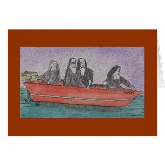 nonnen in een boot kaart
