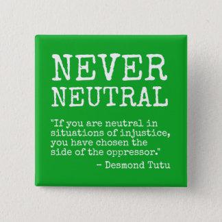 """""""Nooit Neutrale"""" knoop Vierkante Button 5,1 Cm"""