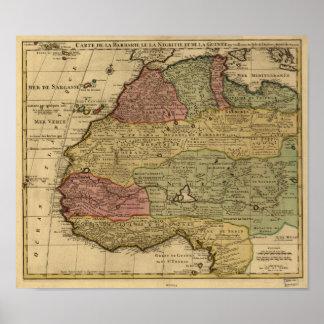 Noord- Afrika 1742 Antiek Kaart Poster