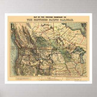Noordelijke Vreedzame Kaart 1871 van de Spoorweg Poster