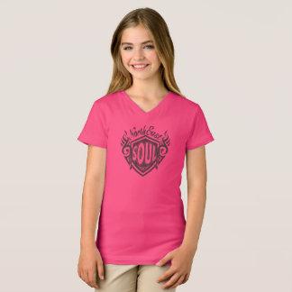 Noordoostelijke van meisjes Roze Ziel V - hals T T Shirt