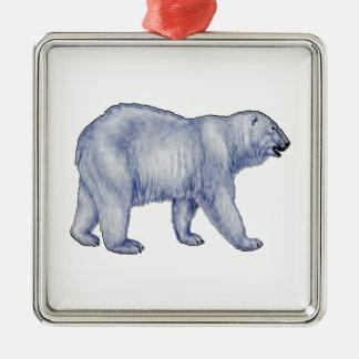 Noordpool Overlevende Zilverkleurig Vierkant Ornament