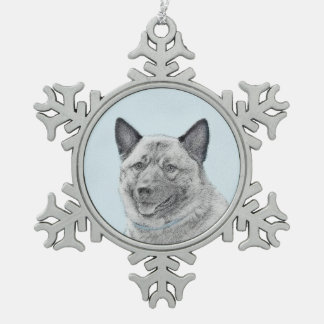 Noorse Elkhound Tin Sneeuwvlok Ornament