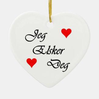 "Noorse ""I houdt van u"" Norsk ""Jeg Elsker Gr. "" Keramisch Hart Ornament"