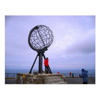 Noorwegen, Wereldbol bij de Kaap van het Noorden Briefkaart
