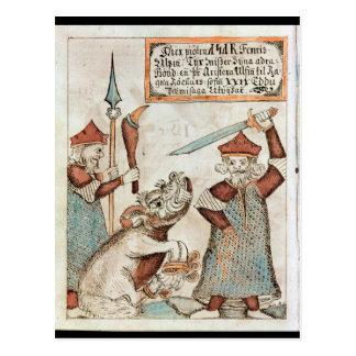 Norse god Tyr die zijn hand verliezen aan de Briefkaart