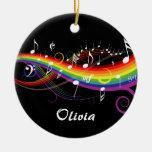 Nota's van de Muziek van de regenboog de Witte Kerst Ornamenten