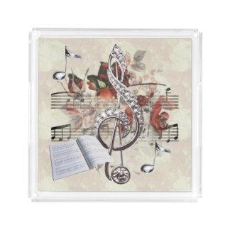 Nota's van de Muziek van het blad & de Zilveren Acryl Dienblad
