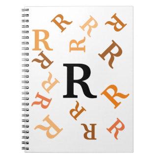 Notitieboekje - Getuimelde Oranje Brieven Ringband Notitie Boek