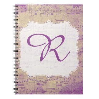Notitieboekje Paarse Grungle van de Muziek van de Ringband Notitieboek